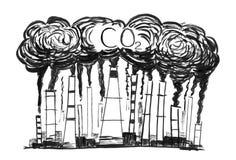 Рисовать куря дымовых труб, концепция руки Grunge излишка бюджетных средств загрязнение воздуха СО2 индустрии или фабрики стоковое изображение rf
