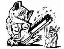Рисовать на бумажных выдуманных персонажах из мультфильма Monochrome рассказ животных иллюстрация Стоковая Фотография RF