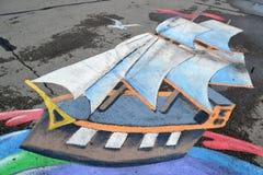 Рисовать на влажной мостоваой Стоковые Изображения RF