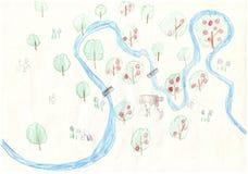 Рисовать покрашенными карандашами в стиле детей карты реки от взгляда глаза ` s птицы Стоковая Фотография RF