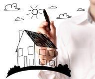 Рисовать растущую диаграмму недвижимости иллюстрация штока