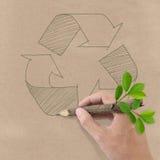 Рисовать рециркулирует символ на бумаге рециркулированной Brown. Стоковые Фото