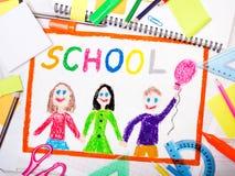 рисовать с польским словом & x22; school& x22; Стоковые Изображения RF