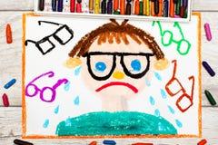 рисовать: Унылый и плача мальчик с его травами Дефект зрения Стоковое Изображение RF