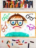 рисовать: Унылый и плача мальчик с его травами бесплатная иллюстрация