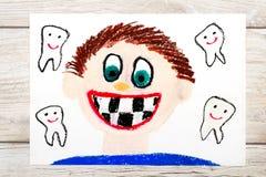 Рисовать: Усмехаясь мальчик без зубов молока Проигрышные зубы младенца иллюстрация штока