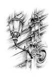 Рисовать фонарика античной улицы handmade иллюстрация вектора