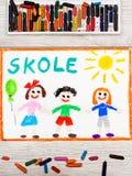 Рисовать: Шведское слово ШКОЛА и счастливые дети Стоковые Изображения RF