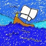 рисовать childs шлюпки иллюстрация штока