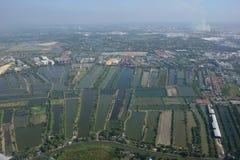 Рисовые поля вида с воздуха Бангкока авиапорта Suvarnabhumi Стоковые Фотографии RF