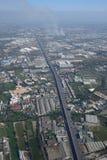 Рисовые поля вида с воздуха Бангкока авиапорта Suvarnabhumi Стоковая Фотография RF