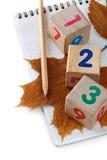 Рисуйте, кубы с диаграммами и листья осени Стоковая Фотография RF