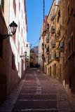 Рисуночная улица старого городка Tarragona, Испании стоковое изображение rf