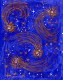 Рисуночные звезды в ночном небе Стоковое Фото