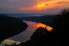 Рисуночный заход солнца реки Стоковое Фото