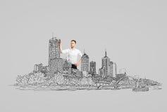 Рисуя абстрактный город Стоковые Фотографии RF