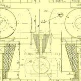 Рисуя безшовная картина на желтой предпосылке Illustra вектора Стоковая Фотография