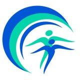 Рисуя глобус логотипа здоровья людей иллюстрация штока
