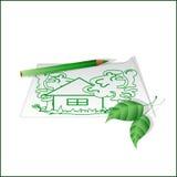 Рисуя зеленый карандаш, символ экологичности Стоковая Фотография