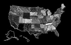 Рисуя карта мела США Соединенных Штатов Америки иллюстрация штока