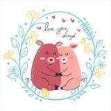 рисуя объятие любовника свиньи пар розовое совместно иллюстрация вектора