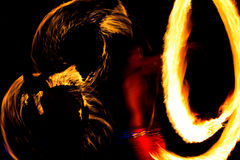 Рисуя огонь на ноче Стоковое фото RF