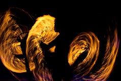 Рисуя огонь на ноче Стоковая Фотография