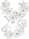 Рисуя олени с магнолией и цветением яблока в стиле zentangle для взрослых крася страниц иллюстрация штока