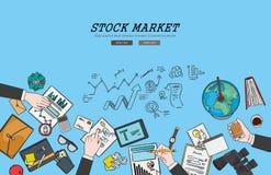 Рисуя плоская концепция фондовой биржи иллюстрации дизайна Концепции для знамен сети и рекламных материалов Стоковое Фото