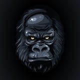 Рисуя реалистическая горилла черной стороны, желтый цвет наблюдает Стоковое Фото