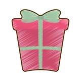 Рисуя розовая большая подарочная коробка с смычком иллюстрация вектора