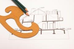 Рисуя техническое изолированное на белизне Стоковое Изображение