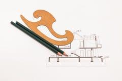 Рисуя техническое изолированное на белизне Стоковые Фото