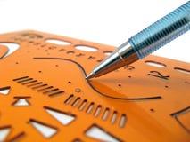 рисуя шаблон точного правителя технический стоковое изображение rf