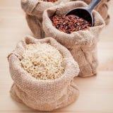 Рисы смешанных всех рисов зерна традиционных тайских самые лучшие для здоровой стоковые фото