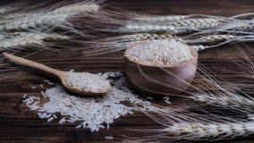 Рис Брайна и завод пшеницы на деревянной предпосылке Стоковые Фотографии RF