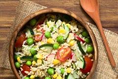 Рис Брайна и салат овоща Стоковые Изображения