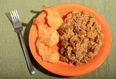 Рис говядины и зажаренная креветка Стоковые Изображения