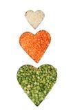 рис гороха чечевицы сердец Стоковая Фотография