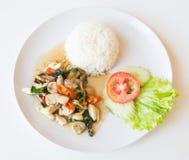 Рис и зажаренный stir гриб стоковые изображения rf