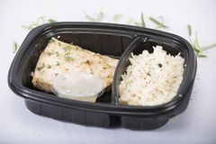 Рис и цыпленок еды диеты Стоковая Фотография