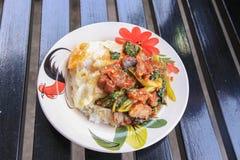 Рис и stir-зажаренные кудрявые свинина и базилик покрыли с яичницей Стоковая Фотография RF