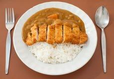 Рис карри с котлетой свинины Стоковое Фото
