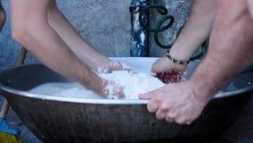 Рис мытья в воде сток-видео