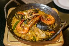 Рис паэлья морепродуктов Стоковое Изображение