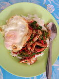 рис покрытый с мясом краба и базиликом Стоковое Фото