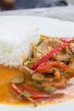 Рис с карри свинины. Стоковые Изображения
