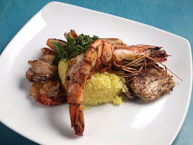 Рис с креветкой и омаром Стоковое Изображение