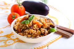 Рис с потушенными овощами Стоковое Фото