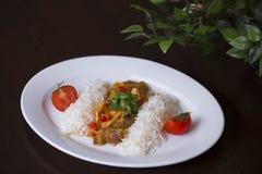Рис с семенить мясом и томатным соусом Карри цыпленка с рисом и cilantro на белом конце плиты вверх по горизонтальной Стоковое Фото